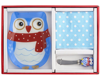 Owl Hostess Set- Includes Glass Serving Plate, Glass Spreader and Napkins HS-064