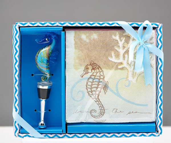 Napkin & Stopper Set -  Seahorse.. HS-071