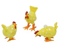 Milano Art Glass Animals-3 Hanging Chickens-MA-131