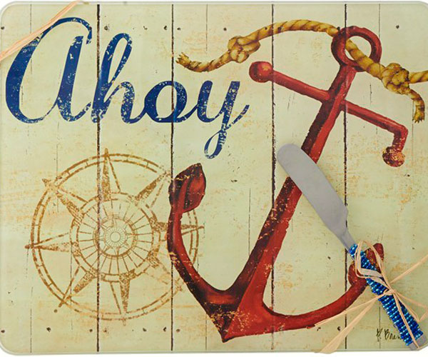 Cheese Board - Ahoy withSpreader - 10x8 Inches - TBD PB-002'