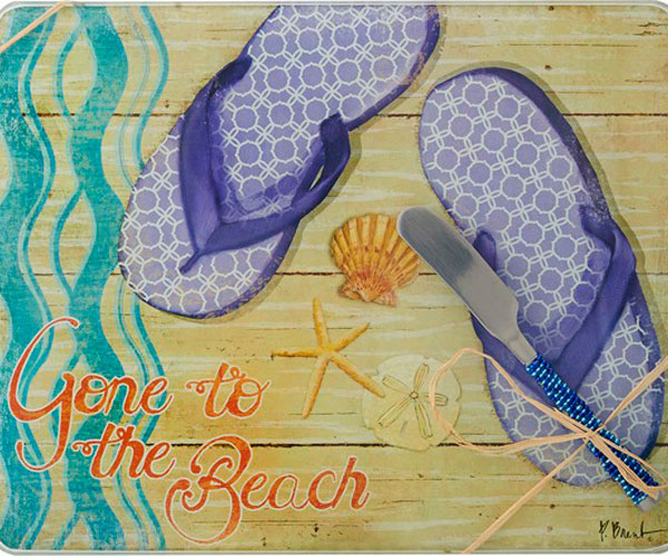 Cheese Board - Gone to the Beach withSpreader - 10x8 Inches - TBD PB-003'