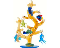 Glass Coral Tree with Sea Life Ornaments - 6 Inch GB TR-001
