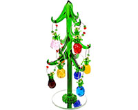 Glass Pineapple Wine Charm Tree 8 inch with 9 ornaments PVC TR-006