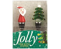 Bottle Stopper - Santa/Tree - S/2 PVC-WAX-007