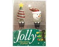 Bottle Stopper - Tree Yell. Star/Snowman - S/2 PVC-WAX-009