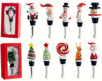 Bottle Stoppers - Holiday (Red GB) -12 Piece Assortment.-WAX-026
