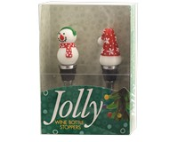 Bottle Stoppers - Snowman and Hat - S/2 PVC-WAX-027
