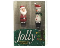 Bottle Stoppers - Santa and Snowman - S/2 PVC-WAX-028