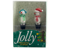 Bottle Stoppers - Silver Snowmen - S/2 PVC-WAX-029