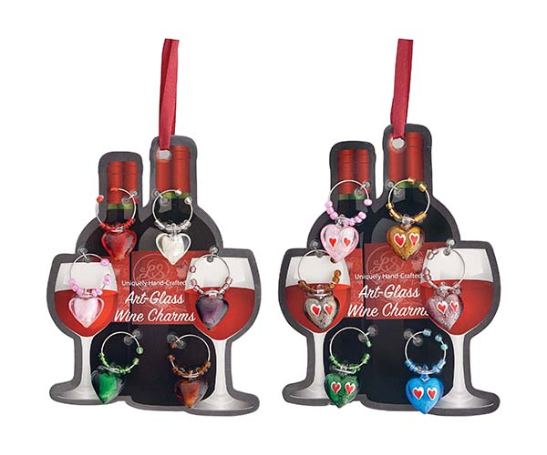 Wine Charms - Hearts - Carded