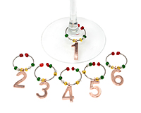 Gold Numbers Wine Charms S/6 WB-082
