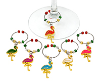 Flamingos Wine Charm Set S/6-WB-085