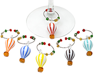 Glass Hot Air Balloon Wine Charms S/6 WB-086