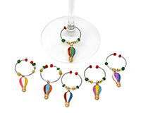 Hot Air Balloon Wine Charms S/6 WB-087