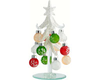 Tree - Frosted - 6 Inch - with 12 Ornament Balls - PVC-XM-1010