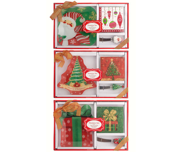 OUT FOR THE SEASON Christmas Hostess Set - with Glass Plate XM-1015'