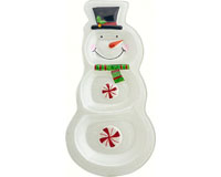 Platter - Snowman - 3 sectional - 13 in x 6.75 in XM-1017