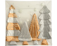 Platter - Gold and Silver Trees - 12 in Square XM-1018