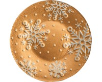 Platter- Gold Snowflakes - 12 in Round-XM-1019