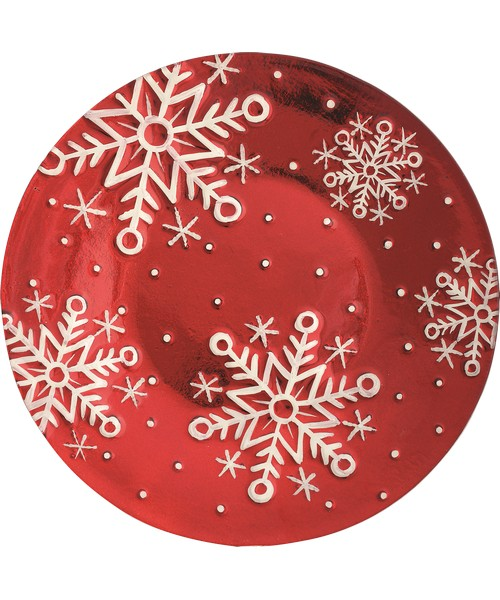 Platter - Red Snowflakes - 12 inRound