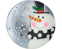 Platter - Snowman - Grey/Blue - 12.25 in Round-XM-1021