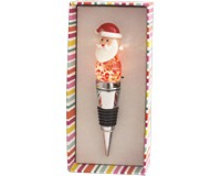 Santa Light Up Glass Bottle Stopper-XM-1040