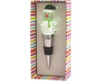 Snowman with Green Light-Up Glass Bottle Stopper-XM-1044