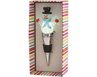 Snowman with Blue Light-Up Glass Bottle Stopper-XM-1045