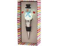 Snowman with Blue Light-Up Glass Bottle Stopper XM-1045