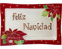 Christmas Platter - Feliz Navidad - 14x9.5 Inches XM-1057
