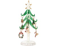 Tree - Green - 6 Inch with 9 Enamel Holiday Wine Ornaments GB XM-1060