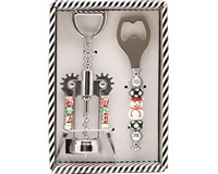 Corkscrew & Bottle Stopper Set - Holiday Beaded-XM-1068