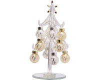 Tree - Clear - 6 Inch -  with Silver and Gold Ornaments GB XM-1071