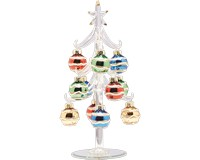 Tree - Clear - 8 Inch -  with Multi Color Ornaments GB XM-1074