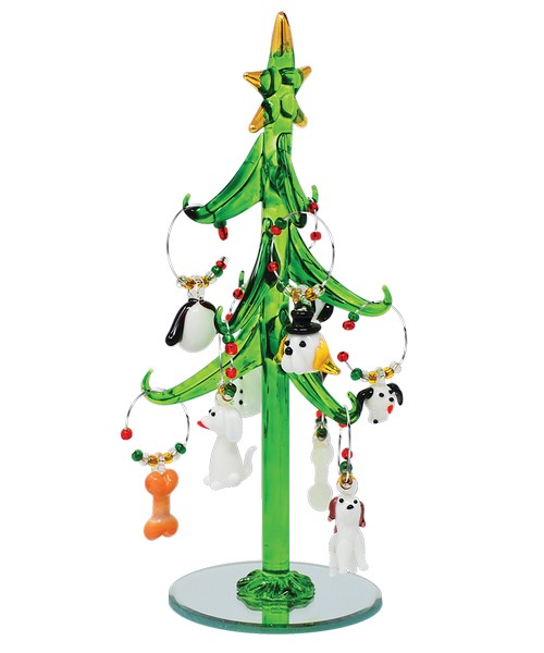Tree - Green - Dog - with 9 Wine Charm Ornaments GB XM-1090'