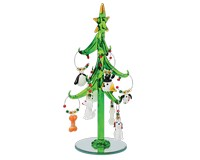 Tree - Green - Dog - with 9 Wine Charm Ornaments GB XM-1090