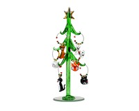 Tree - Green - Cat - with 9 Wine Charm Ornaments GB XM-1091
