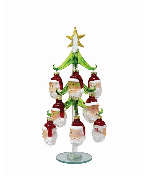 Tree - Green - with 12 Santa Ornaments 10 inch - GB XM-1118'