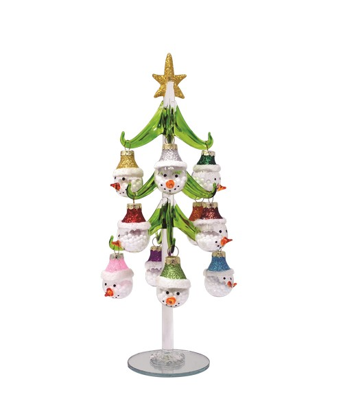 Tree - Green - Snowman with 12 ornaments - 10 inch GB XM-1119