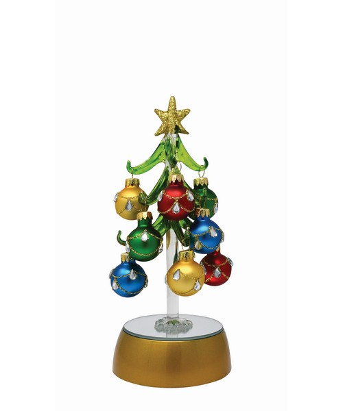 Tree - Light Up 6 inch with 12 Multi- Jeweled Color Ornaments Gift Box XM-1121'
