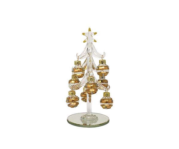 Tree - Clear with 9 Champagne Colored Ornaments - 6 inch PVC XM-1126