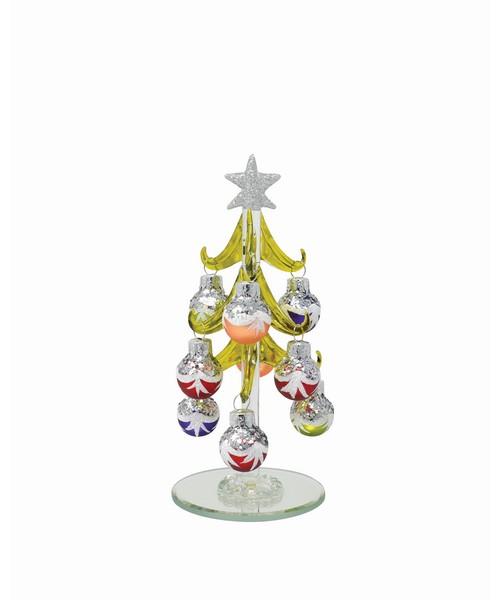 Tree - Green with 9 Silver Glitter Multi-Colored Ornaments PVC XM-1127