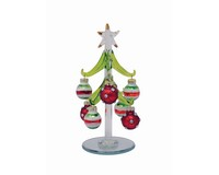 Tree - Green - with 8 Jeweled/Striped Ornaments - 6 inch PVC XM-1129