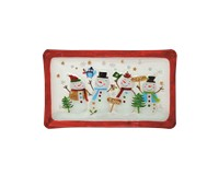 Platter - Snowman Family - 14.5 inch x 9 inch-XM-1142