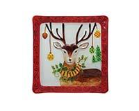Platter - Christmas Deer - 12 inch Square-XM-1144