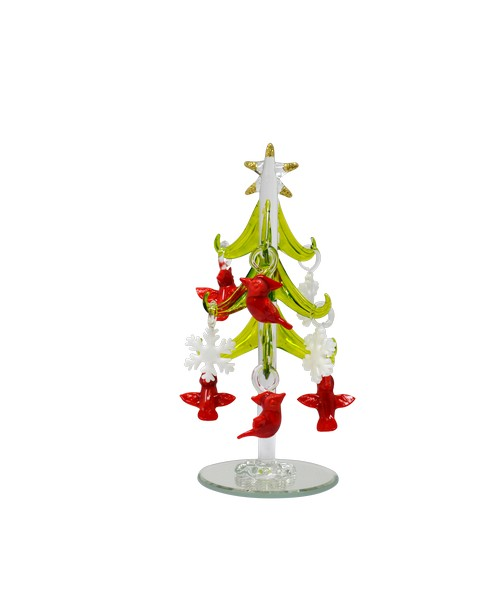 Tree - Green - with 9 ornaments Cardinal & Snowflake 6 inch GB XM-1145