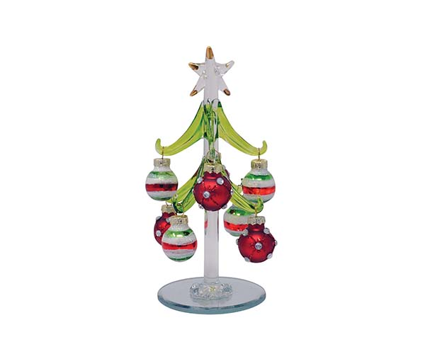 Tree - Green with 8 Jeweled/Striped Ornaments - 6 inch GB XM-1147