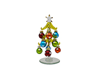 Green Tree with Polka Dot 6 inch with 12 Ornaments PVC-XM-1179