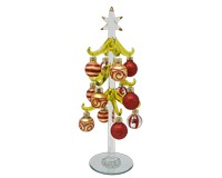 Green Tree - Gold, Red, Silver 10 inch with 12 Ornaments GB XM-1187