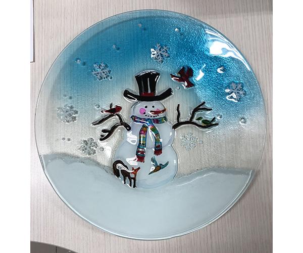 Snowman & Birds Glass Serving Platter